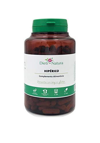 Hipérico 200 cápsulas de Dieti Natura. Equilibrio emocional y relajación [Fabricado en Francia][Garantía Sin OGM ni Gluten] (Bote de 200 cápsulas)
