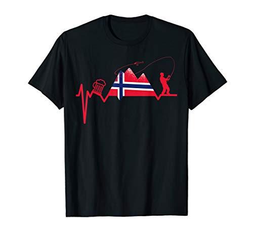 Herren Angeln Angelnrute Angler NORWEGEN ANGELN CAMPING UND BIER T-Shirt