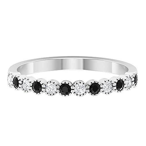 Anillos de piedras preciosas para mujer, anillos apilables, anillo de oro delicado, oro blanco, Metal precioso. Piedra preciosa. Piedra, Diamante negro creado en laboratorio,