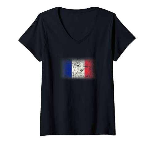 Mujer Bandera de Francia Drapeau France Tricolor Hombre Mujer Camiseta Cuello V