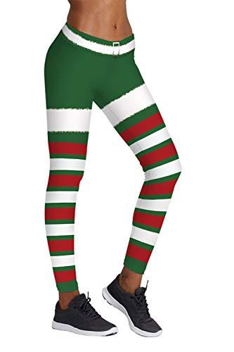 Pink Queen Christmas Mistletoe Leggings AnkleL Length Yoga Tights,US S-M,Christmas Pattern 7