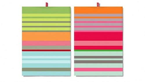 Remember TR16 Set de Trapos de Cocina 100% algodón | Set de 2 unidades de Paños de Cocina a Rayas Multicolores | Modelo N° 16 de la Marca Alemana Remember | Tamaño 50x 70cm