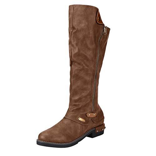 Cowboy Halbschaft Reitstiefel TTLOVE Stiefeletten Cowboy Boots mit Blockabsatz Western-Stiefel Reißverschluss Bikerstiefel Damenschuhe (Braun,36 EU)