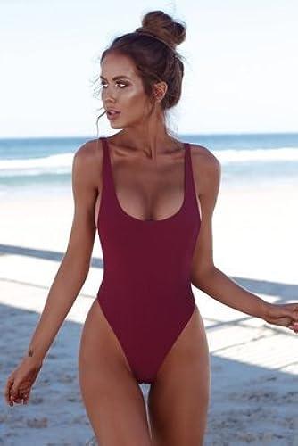 Gyps Femme Bikini Sexy de Bain Bikini à Bretelle Triangle maillot de bain Plage Maillots de Bain Femme_Modern Comfort Bikini mode Triangle Pure Couleur Grande Taille Femme Mode 8018, Style 4 Bordeaux, S
