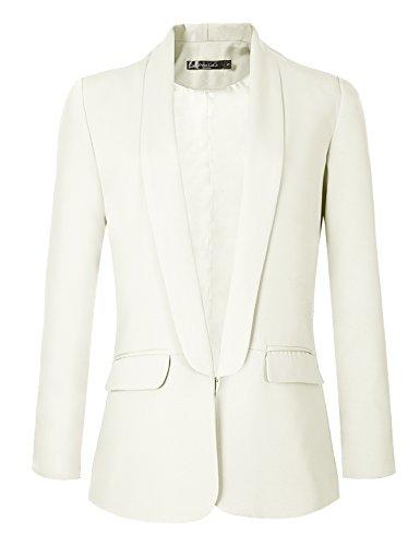 Urban CoCo Women's Office Blazer Jacket Open Front (XL, White)
