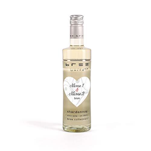 Herz & Heim® Wein Gastgeschenk zur Hochzeit mit Aufdruck der Namen auf kleinem Herz Etikett - kleiner Bree Wein (1 x 0.25 l) Weiß