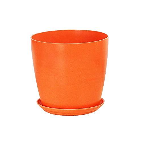 KJUILO-1 Pot de Fleurs en Fibre d'orange pour Protection de l'environnement (T:16 cm B:12 cm H:14,5 cm) Imitation Porcelaine Pot de Fleurs Rond en Plastique Vert