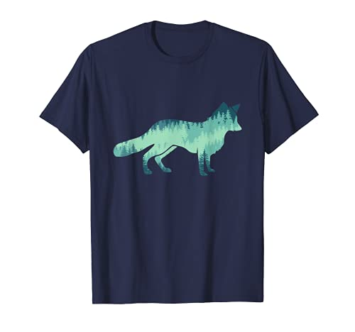 Zorro Animal Design Perro bosque árboles, abeto natural amigos Camiseta