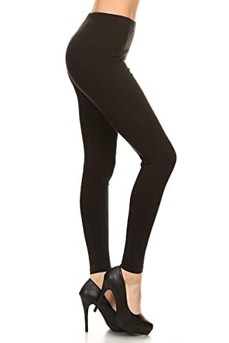 NCL32-Black-L Cotton Spandex Solid Leggings Made...