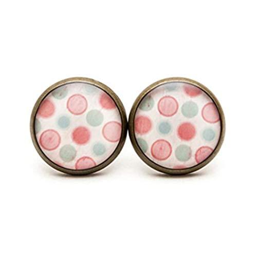 Elf House Pendientes de tuerca, diseño de lunares, color rosa y azul claro