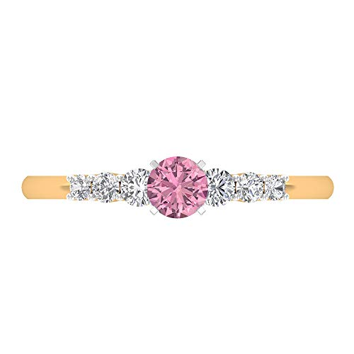 Anillo de compromiso de turmalina de 4 mm, diamante de 1/4 quilates, anillo solitario con piedras laterales, anillo de oro para mujer, oro de 14 quilates rosa