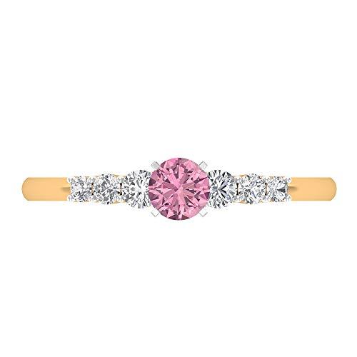 Anello di fidanzamento in tormalina da 4 mm, diamante 1/4 ct, anello solitario con pietre laterali, anello in oro da donna, 14K Giallo oro, Size:EU 60