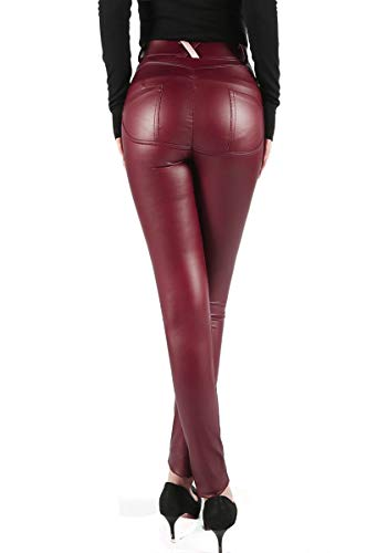 Uni-Wert Damen Lederhose Stretch Skinny Leggings High Waist Weinrot Kunstleder Hose