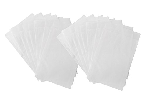 Verpakking met 25 minipapieren zakken 4,5 x 6 + 2 cm flap, wit, ideaal voor specerijen en zaden