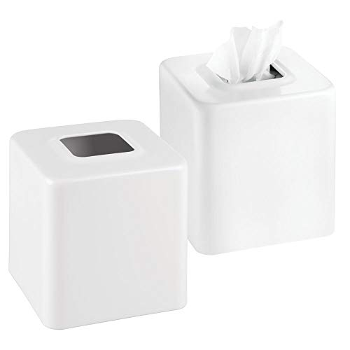 mDesign Modern Square Metal Paper Facial Tissue Box Cover Holder for Bathroom Vanity Countertops, Bedroom Dressers, Night Stands, Desks and Tables - 2 Pack - White
