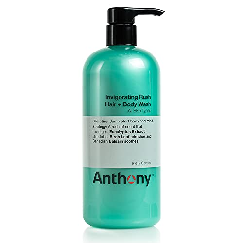 Anthony Invigorating Rush Hair and Body Wash, 32 Fl Oz, Contains Eucalyptus Extract, Canadian Balsam, Birch Leaf, 2-In-1 Formula For Hair and Body, That Cleanses, Refreshes, Hydrates and Soothes