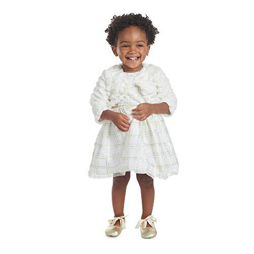 PIPPA & JULIE Teresa Ivory Plaid Jacket Dress, Ivory, 12M