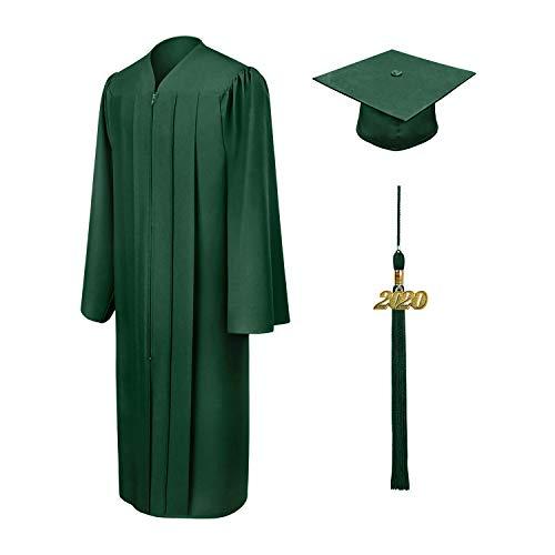 Vertvie Unisex Robe Akademischer Talar Doktorhut groß Größen Umhang für Abschlussfeiern Abschluss College Kleider für Erwachsene Studenten (Fit-grün 1, 51)