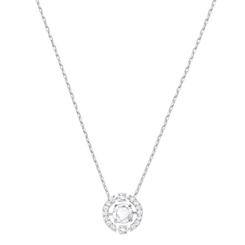 Swarovski Sparkling Dance Round Pendant Necklace with a Clear Swarovski Crystal Surrounded by Matching Crystal Pavé on a Rhodium Plated Chain