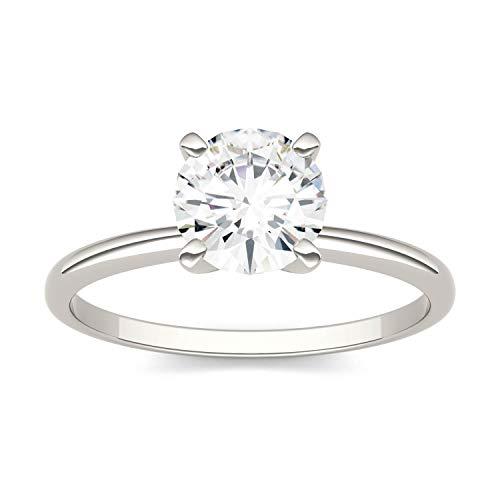 Charles & Colvard Forever One anillo de compromiso - Oro blanco 14K - Moissanita de 6.5 mm de talla redonda, 1 ct. DEW, talla 13