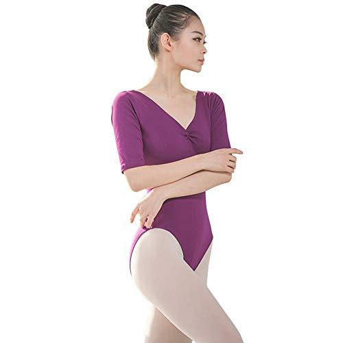 BOZEVON Femme Danse Justaucorps - Costume de Gymnastique de Justaucorps de Danse sans Manches à col en V et Dos Nu pour Femme, Violet Raisin, 3XL
