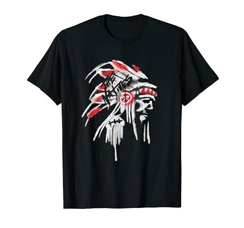 Tocado de plumas nativas americanas diseño flauta india nativa Camiseta