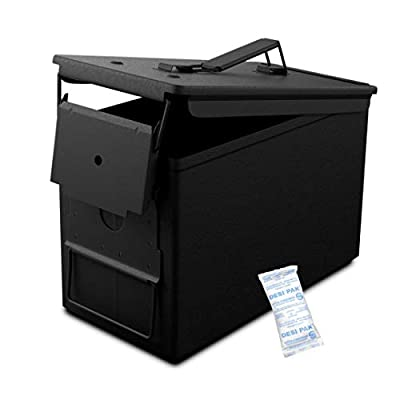 Solid Tactical New 50 Cal Metal Ammo Can in Matte Black - Military & Army M2A1 Steel Waterproof Ammunition Box for Long Term Storage