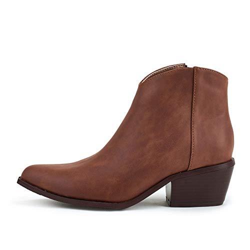 GGBLCS Damen Cowboy Stiefeletten Blockabsatz Runder Zehen Western Stiefel Mit Reißverschluss,Braun,39 EU