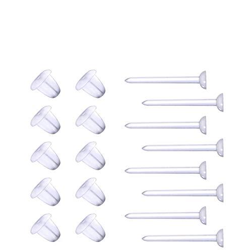 ROSENICE 1000 Pcs Ohrstecker Transparent Ohrstifte Kunststoff Ohrring mit 1000 Pcs Ohrstopper Rückseiten