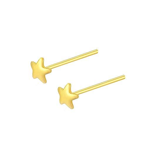 LPZW 925 de Plata de Ley Pendientes de la Flor de la Estrella de la Luna Amor de la Mariposa de Oro a pequeña genealógicos for Las Mujeres joyería Fina 2020 Bijoux (Gem Color : Gold Star)