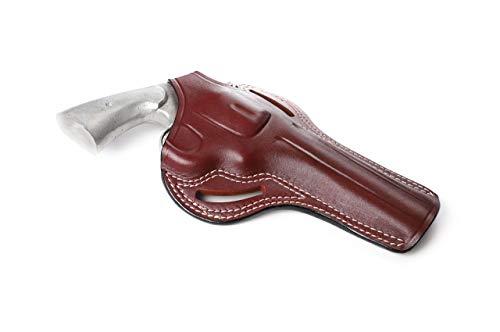 Pusat Holster Colt Python, Colt King Cobra, Colt Trooper MK III 357 Magnum Revolver Thumb Break Leather OWB 6 Barrel Holster Right Hand Colors Black-Brown (Brown Right Hand, Colt Trooper MK III)