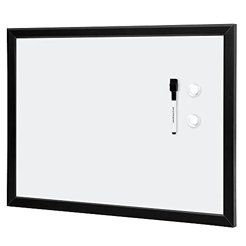Amazon Basics Magnetic Dry Erase White Board, 23 x 17-Inch Whiteboard - Black Wooden Frame