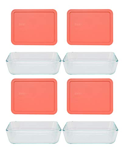 Pyrex (4) 7211 6 Cup Glass Dishes & (4) 7211 6 Cup Rectangle Coral Lids