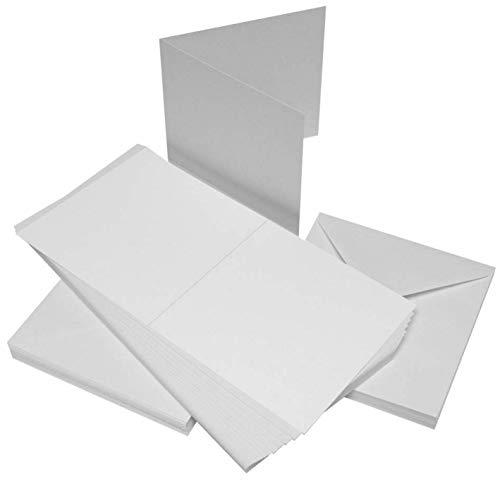 Craft UK - 50 cartes et enveloppes 10x10 cm, blanc, 35/50 mm