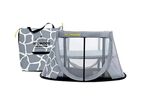 Cuna de Viaje Aeromoov para bebé plegable e instantánea con colchón configurable a dos alturas y bolsa de transporte (color Jirafa gris, Edición Limitada)