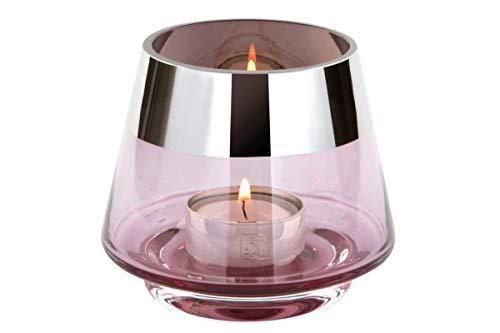 Fink - Teelichthalter - Windlicht - JONA - Glas - hellrose - Höhe 9cm - Ø 11cm