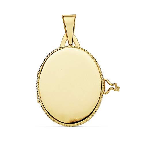 18k Ciondolo in oro PORTAFOTOS 22 millimetri. ovale liscio bordo medaglione [AB9372]
