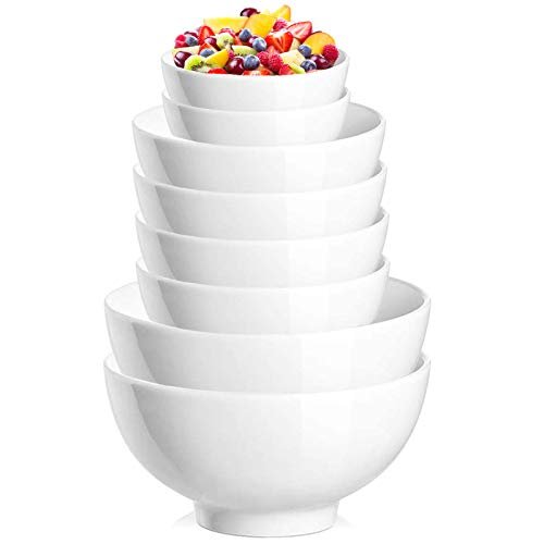 DeeCoo Soup Cereal Ramen Desert Bowls Set - 42 | 28 | 10 Ounce - Lightweight Bowl Sets 8, Chip Resistant, Dishwasher & Microwave Safe, Nut Bowls, White Bowls, for Rice Pasta Salad Oatmeal