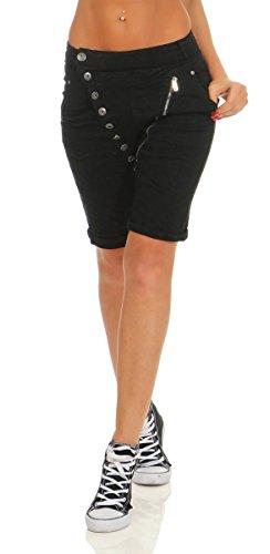 Fashion4Young 11509 MOZZAAR Damen Jeans Bermuda Hose Boyfriend Denim Shorts Slimline Knopfleiste Zipper Slim-Fit (schwarz, S-36)