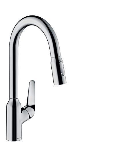 hansgrohe Küchenarmatur (Wasserhahn Küche 360° schwenkbar, ausziehbare Brause mit 2 Strahlarten, hoher Komfort-Auslauf 220mm, Standardanschlüsse) Chrom