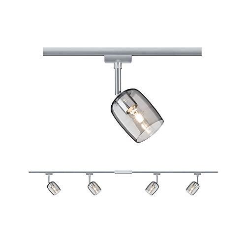 Paulmann 96899 URail Schienensystem Set Blossom max. 4x10 Watt Lichtschiene matt, Chrom, Rauchglas Deckenlampe Metall, Kunststoff Deckenschiene G9