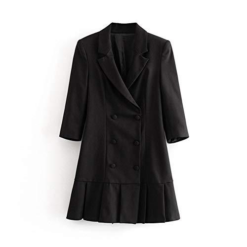 Mujeres de Primavera y otoño Primavera y otoño Diosa Sexy Chicas Elegantes Elegante Traje Negro Chaqueta Vestido Medio Mangas Estilo Vintage Mujer Oficina señora Mini Vestido