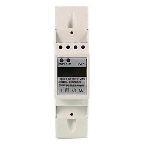 XCSOURCE LCD Contatore Watt Energia Elettrica KWH DIN Monofase S0 di Alimentazione AC 230V 80A BI103