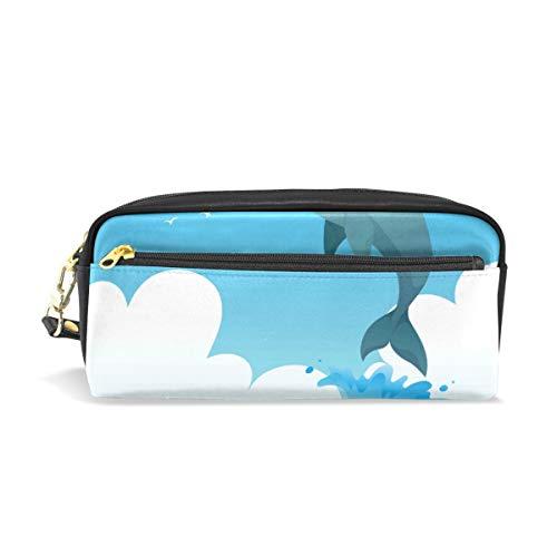 Delphin Stifthalter/Tasche für Studenten, für Stifte, Aufbewahrungstasche für Schreibwaren, Kreative Kosmetik, Make-up-Tasche, Geschenk, Büro, Schule, Zubehör für Hochschule, Mädchen, Erwachsene