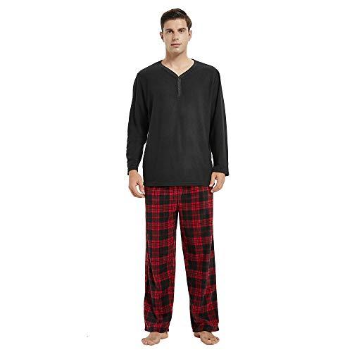 U2SKIIN Mens Pajama Set, Plaid Pajamas for men Long Sleeve Sleepwear Warm Pjs Set with Pockets(Black/Red-Black Plaid, S)