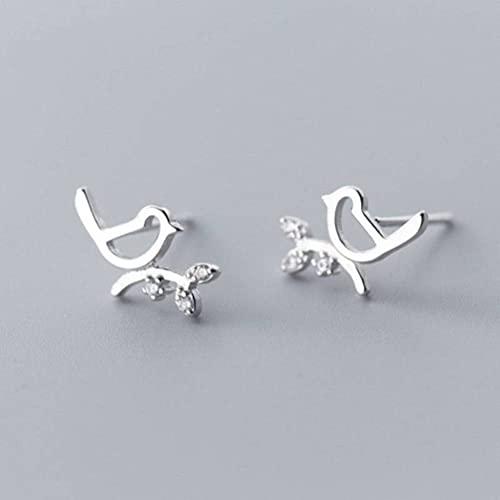 Good dress S925 Uñas Blancas de Hongos Pendientes de Diamantes de Rama de Pájaro Animal Simple para MujerPar de plata S925