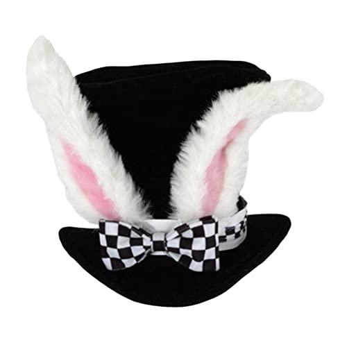 IMIKEYA Conejo Blanco Disfraz Sombrero Conejo Oreja Sombrero Lindo Conejito Diadema Fiesta Decoración Accesorio de Disfraz para Mad Hatter Disfraz Vestido Cosplay