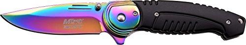 MTech USA Couteau de Poche, Lame en Arc-en-Ciel et renforcer, Longueur en cm : 11.43 fermé, mtec de 1260