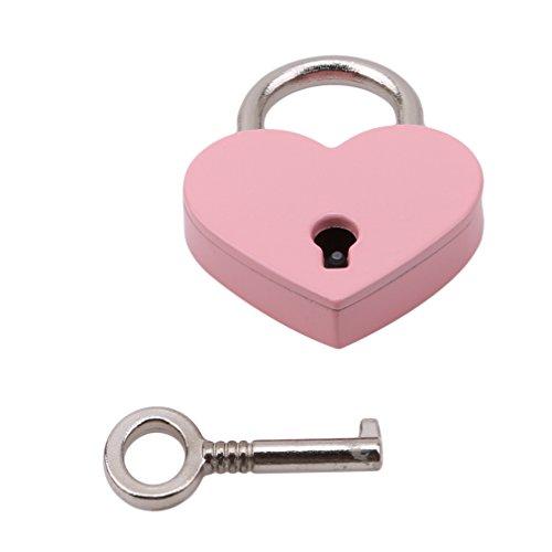 L_shop Vorhängeschloss im Retro-/Vintage-Stil, Herzform, mit Schlüssel, Reisegepäck, Koffer, Spind, Pink, 3 x 4 cm/2,5 cm