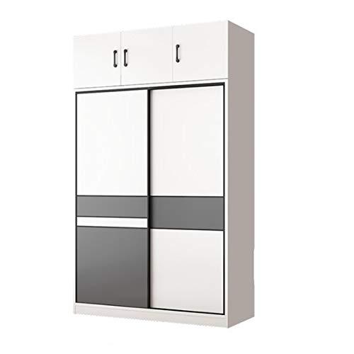 CHENSHJI Armario Puerta corredera Pequeño Apartamento Moderno Minimalista Casa Dormitorio Armario en Alquiler Armario de Puerta (Color : White, Size : 200x50x100cm)